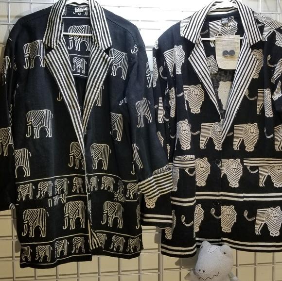 Sam Hilu Jackets & Blazers - BOGO Samhilu Cotton Wood Block Print Blazers Lrg